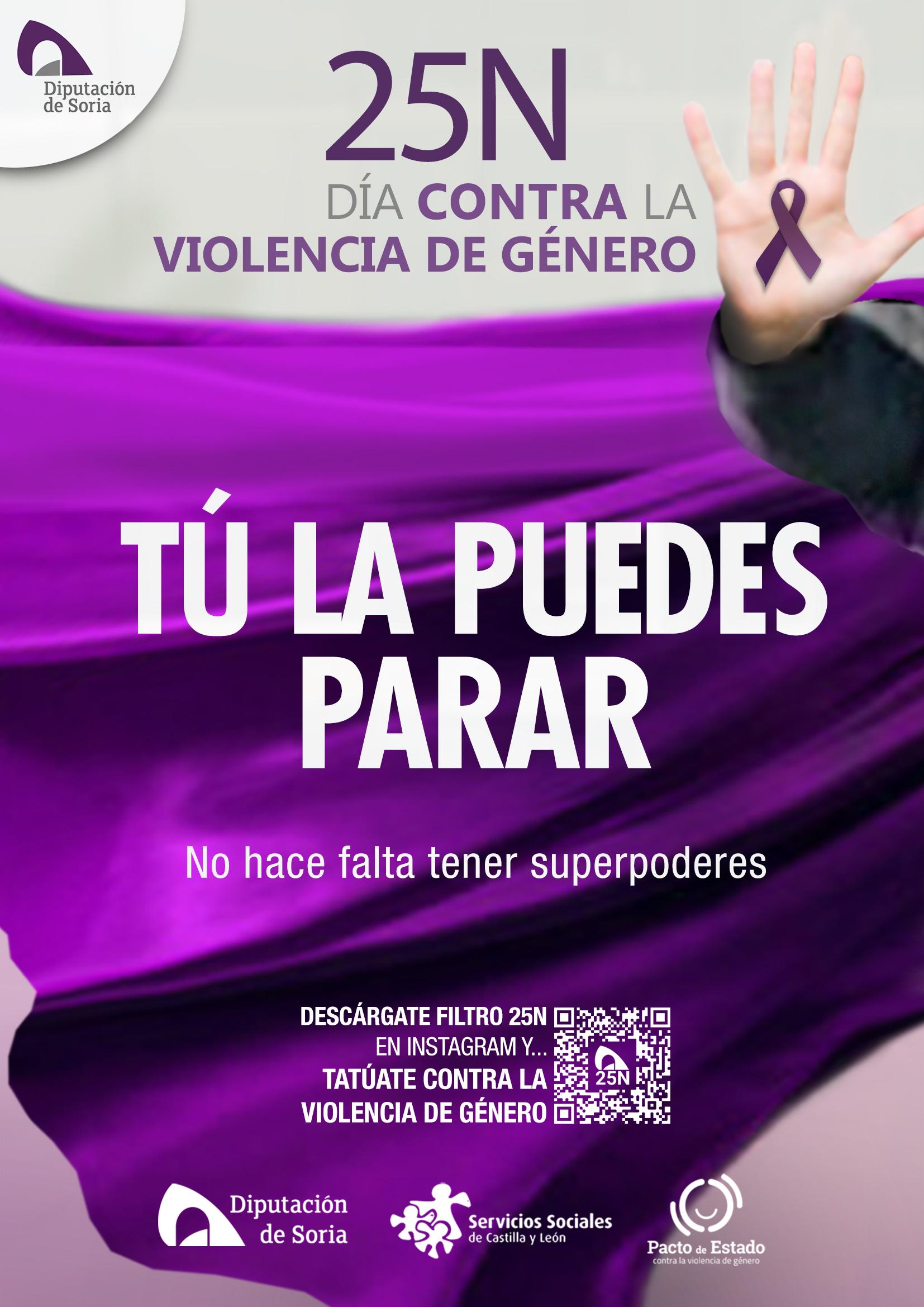 Diputación de Soria presenta la campaña Tú la puedes parar, el 25 de noviembre, Día Contra la Violencia de Género.